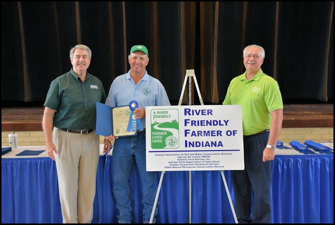 Albert Armand received the 2016 River-Friendly Farmer Award for Decatur County on Aug. 17th at the Indiana State Fair. This is in recognition of his outstanding best management practices on the farm that conserve and protect Indiana soil and water resources.